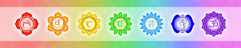 The seven chakras banner Royalty Free Stock Photo