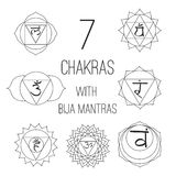 The seven chakras with bija mantras set style on the white background. For design, associated with yoga and India. Stock Photo