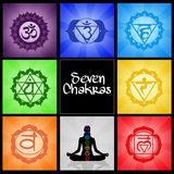 Seven Chakras collage. Illustration of Seven Chakras collage Royalty Free Stock Image