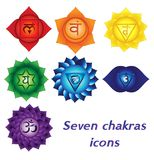 Seven chakras icons, colorful spiritual tattoos. Kundalini yoga symbols. Seven chakras icons. Colorful spiritual tattoos. Kundalini yoga symbols Vector Illustration