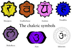 Seven Chakras isolated. The seven chakra (Cakra) symbols isolated on white. Ready to use for many purposes. Scalable vector format is also available Royalty Free Stock Photos