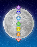 Seven Chakras And Moon Royalty Free Stock Photos