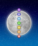 Seven Chakras And Moon Royalty Free Stock Image