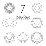 The seven chakras set style black on the white background. Linear character illustration of Hinduism and Buddhism. Stock Photography