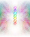 Seven Chakras in subtle energy field background Royalty Free Stock Photos