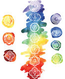 Seven chakras. On watercolor splatters Stock Photos