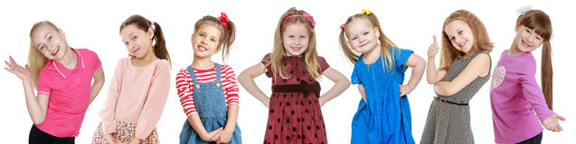 Seven cheerful girls blondes Stock Images