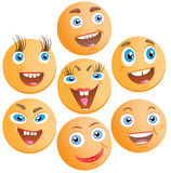 Seven cheerful smilies Stock Photography