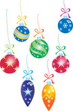 Seven christmas baubles Stock Image