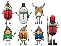 Seven Christmas cartoons Royalty Free Stock Photos