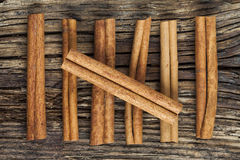 Seven cinnamon barks Royalty Free Stock Photo