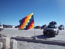 Seven-color checkered flag stock photo