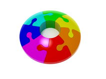 Seven color puzzle Royalty Free Stock Photos