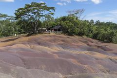 Seven Colored Earth, Chamarel, Mauritius royalty free stock photo