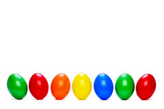 Seven colored eggs Royalty Free Stock Images