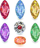Seven colored gems. Set of colored gems isolated on white background vector illustration