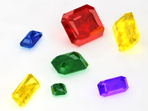 Seven Colored Jewelry Stones Stock Photography