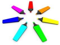 Seven colored marker Stock Image