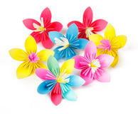 Seven colored paper flowers Stock Image