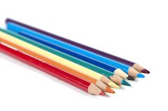 Seven colored pencils. In a rainbow colors Royalty Free Stock Image