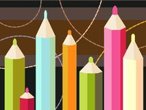 Seven colored pencils Royalty Free Stock Photos