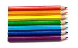 Seven colored pencils. Isolated on white Royalty Free Stock Photography