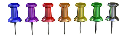 Glossy 7 colors pins royalty free stock image