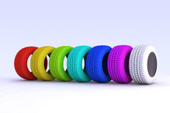 Seven colored tires Royalty Free Stock Photo