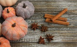 Seven rustic aged pumpkins different colors on a rustic wooden background. Seven Colorful aged pumpkins with star anise and cinnamon siicks all in horizontal stock photos