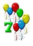 Seven colorful balloons Stock Photo
