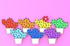 Seven colorful cacti in white pots on pink background 3D illustration. Seven colorful cacti in white pots on pink background bright summer paper cut art 3D Stock Photos