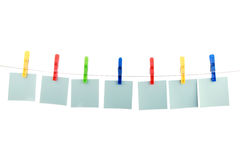 Free Seven Colour Cards Hang On Clothespins Royalty Free Stock Photography - 15146187