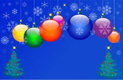 Seven Colour Christmas balls. Vector illustration Stock Images