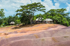 Seven Coloured Earth in Mauritius, Chamarel nature reserve. Chamarel, Mauritius - December 26, 2015: People watching for main sight of Mauritius - Seven Coloured stock images