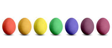 Seven coloured Easter eggs Royalty Free Stock Photo
