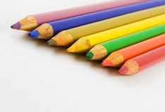 Seven colouring pencils Royalty Free Stock Images