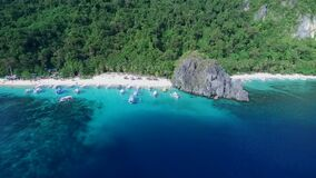 Seven Commandos and Papaya Beach in Palawan, Sightseeing Place. Tour A in El Nido, Philippines. Serene white sand beach with clear