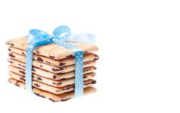 Seven cookies with blue ribbon Royalty Free Stock Photo