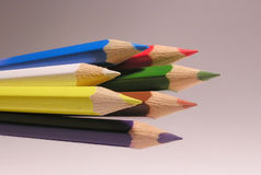 Seven crayons royalty free stock photography