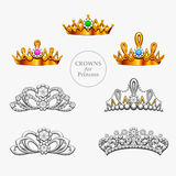 Seven crowns for a princess Stock Photo