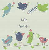 Seven cute birds hanging spring flowers Royalty Free Stock Photography