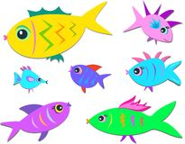 Seven Cute Fish Stock Image