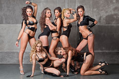 Seven Cute go-go sexy girls in black with diamonds Stock Photo