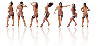 Seven dancers. Collection of seven beautiful woman dancers on a white background Stock Photos