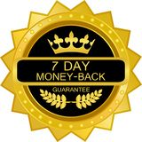 Seven Day Money Back Luxury Gold Label Icon. Seven day money back luxury gold label with a laurel wreath and a crown vector illustration