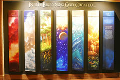 Seven Days of Creation. This is a display inside of the Ark Encounter in Williamstown, Kentucky that shows the seven days of Creation.  In the beginning God Royalty Free Stock Photos