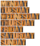 Days of week in wood type Royalty Free Stock Photo