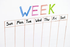 Seven days of the week. Writing on white board stock photo
