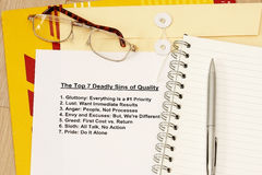 Seven deadly sin of Quality Royalty Free Stock Photos