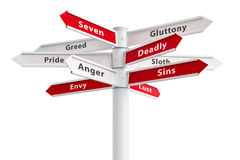 Seven Deadly Sins On Crossroads Sign. Arrows: Greed, Pride, Anger, Envy, Gluttony, Sloth, Lust Royalty Free Stock Image